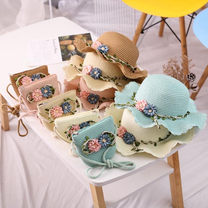兒童夏季新款草帽 女寶寶帽子 配套包包 韓版防曬遮陽帽 可愛花朵盆帽 海邊沙灘帽【IU貝嬰屋】