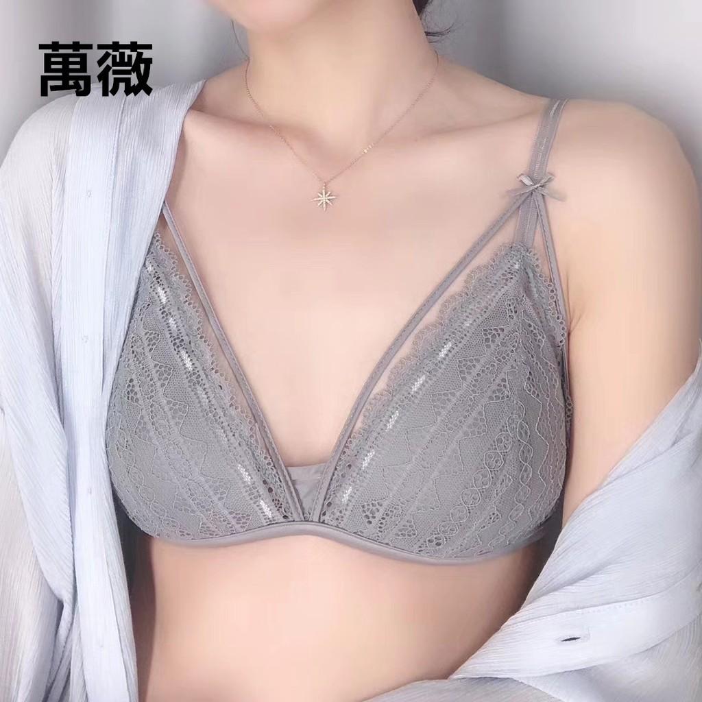 【萬薇】性感惑無鋼圈內衣女集中爆乳小胸罩超薄款夏法式美背小可愛蕾絲