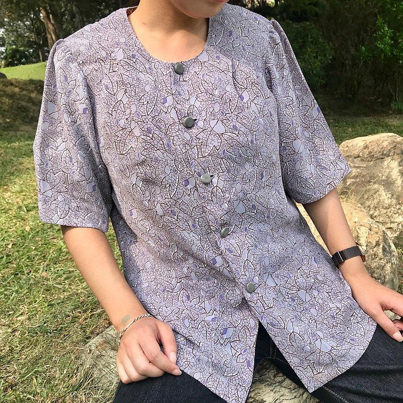灰紫色楓葉紋路古著短袖襯衫