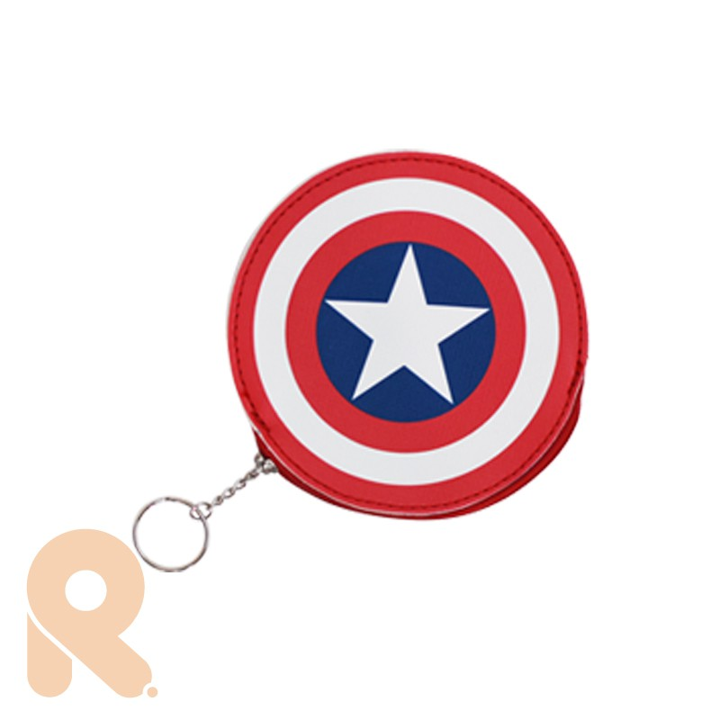 MARVEL【CA473】 美國隊長皮革造型零錢包 Rfunshop 英雄 漫威