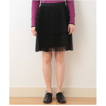 TARA JARMON チュールプリーツディアードスカート【洗える】 ショート・ミニ丈スカート,ブラック
