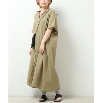 (DOUBLE NAME/ダブルネーム)綿麻ガーゼボリュームワンピース/レディース カーキ