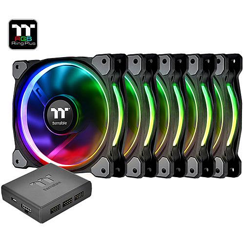 Thermaltake 曜越 Riing Plus 14 LED RGB 14cm 水冷排 風扇 TT Premium 頂級版 (五顆風扇包裝) CL-F057-PL14SW-A