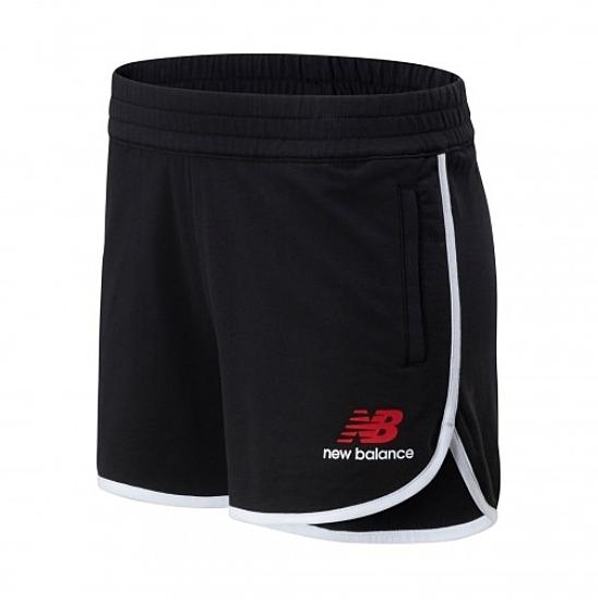 NEW BALANCE 運動 短褲 黑 白邊 紅LOGO 棉 女(布魯克林) AWS01501BK
