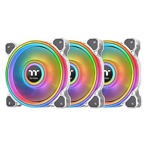 Thermaltake 曜越 Riing Quad 12 RGB 水冷排風扇 TT Premium 頂級版 (三顆風扇包裝) 白色 CL-F100-PL12SW-A