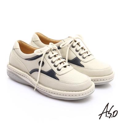 A.S.O 抗震雙核心真皮外翻雙縫線奈米休閒鞋米