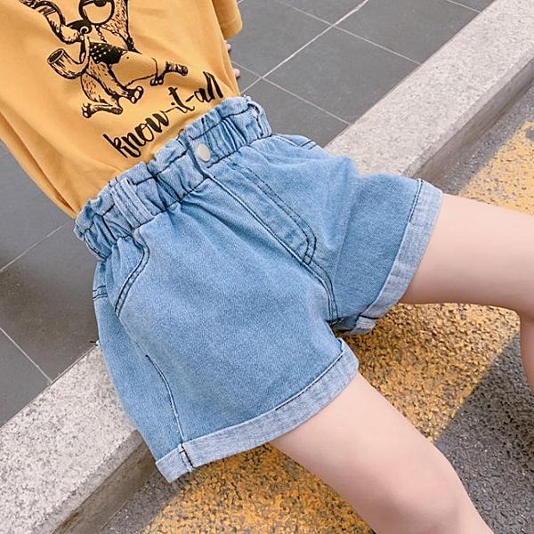 短褲 女童闊腿短褲夏季2020新款潮兒童洋氣破洞牛仔褲外穿女孩百搭褲子