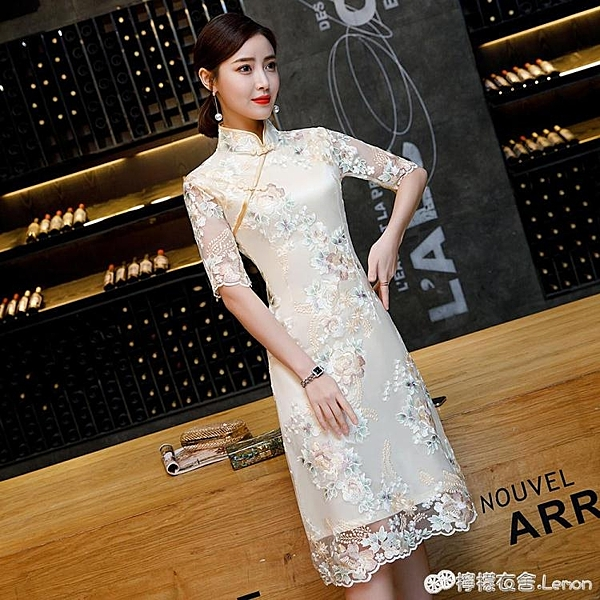 改良旗袍洋裝新款春夏日常少女年輕顯瘦中長禮服復古中國風 檸檬衣舍
