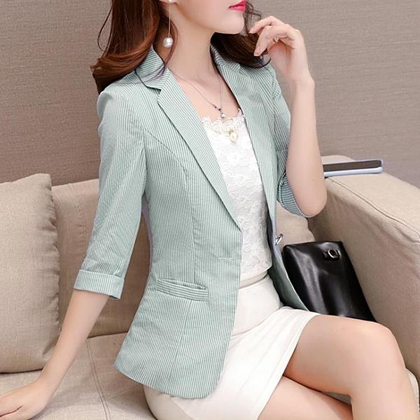 西装外套 七分袖條紋小西裝女2020新款春夏季薄外套韓版修身顯瘦網紅小西服
