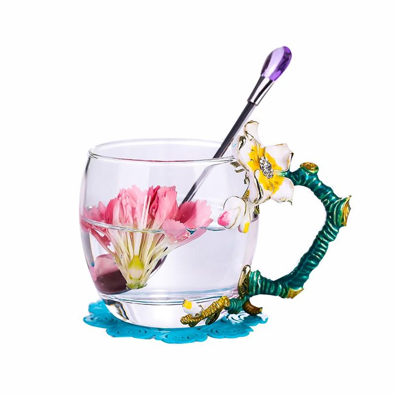 杯子 小清新水杯 耐熱玻璃杯 咖啡杯 帶蓋泡茶杯 水晶牛奶杯 琺瑯大肚早餐杯 XH
