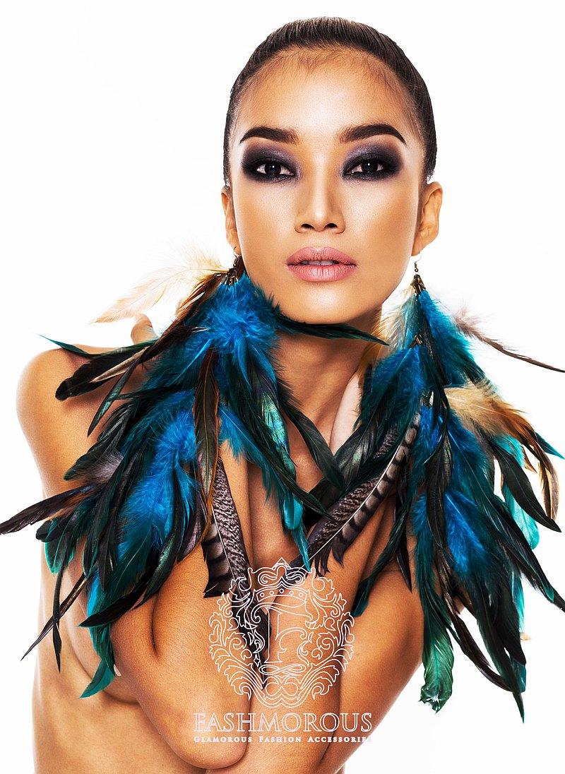 時尚的波西米亞風格長羽毛耳環女垂飾