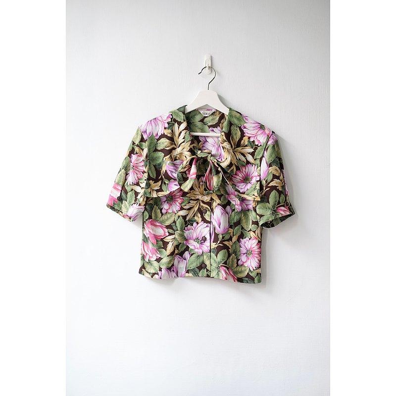 花漾短版/日本古著襯衫
