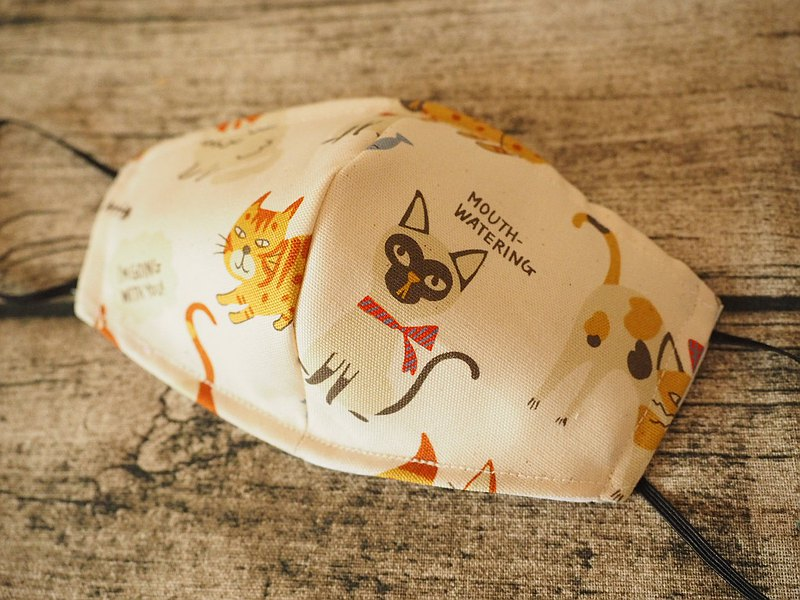 英國製作 環保可洗 可愛貓咪棉麻口罩 可放入濾芯或即棄口罩