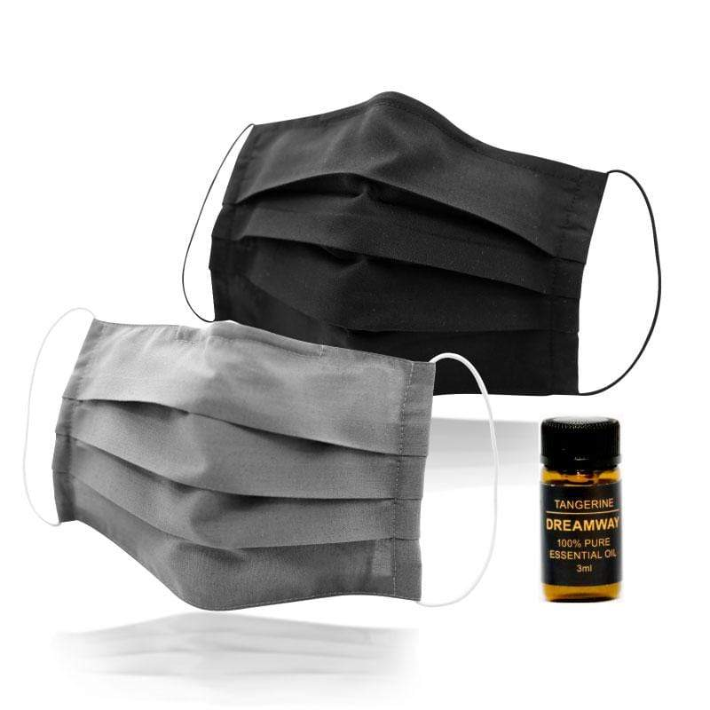 極簡平面耳掛式兩用口罩套精油組(2入) B