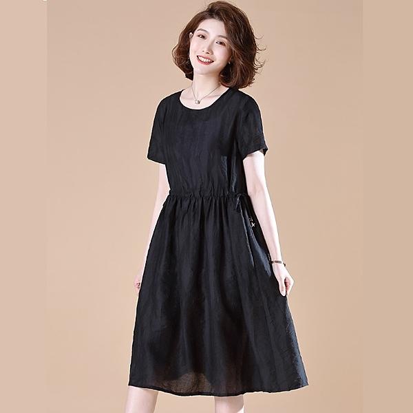 洋裝 韓版天絲抽繩腰短袖寬鬆顯瘦連衣裙 M-2XL #ob30915 @卡樂@