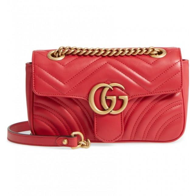 Gucci GG Marmont Mini 446744 衍縫兩用包 6433紅