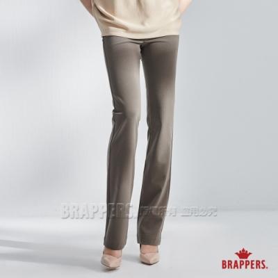 BRAPPERS 女款 簡約素雅中腰彈性直筒褲-灰綠