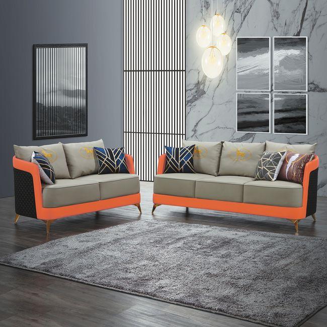 【RA577-1】SH-1818二人位沙發(橘+灰皮)