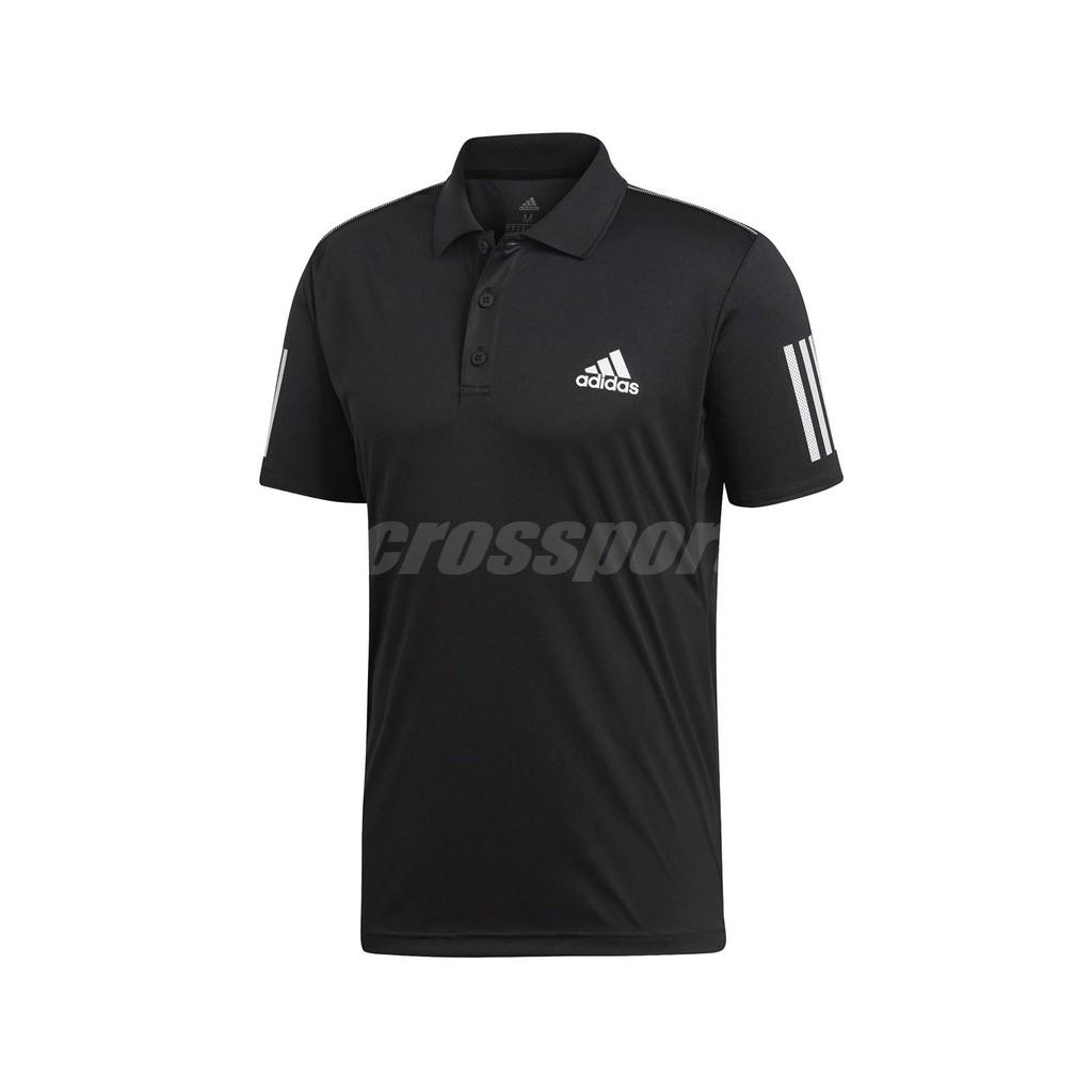 adidas 短袖T恤 3-Stripes Club 黑 白 男款 Polo衫【ACS】 DU0848