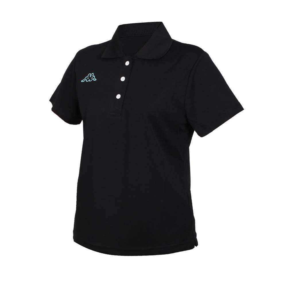 KAPPA 女短袖POLO衫-台灣製 高爾夫 吸濕排汗 上衣 網球 羽球 黑粉綠