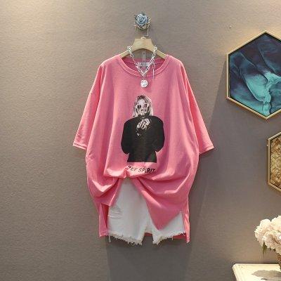 ❤月亮上的貓❤や好品質の設計師款❤ 時尚簡約 小香風文藝高端玫瑰花圖案翻領顯瘦大碼中長款襯衫 寬鬆舒適百搭顯瘦連身裙