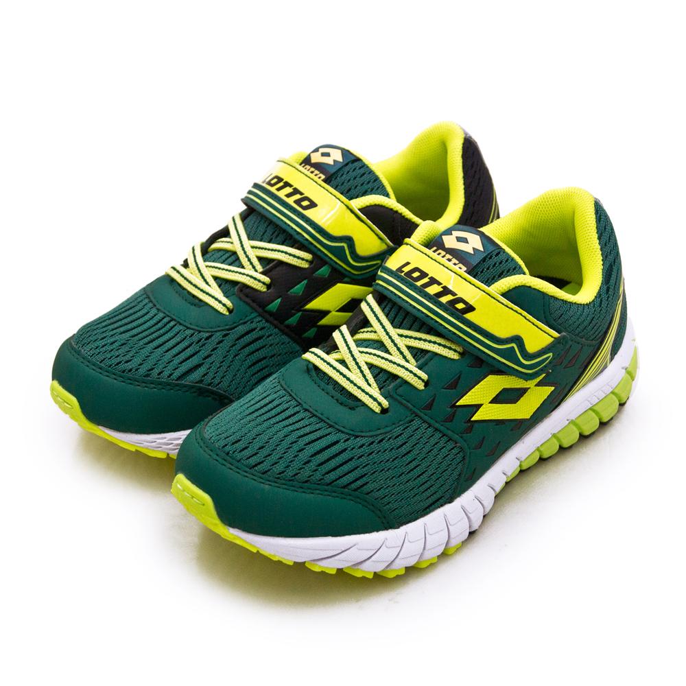 【大童】LOTTO 21cm-24.5cm 雙密度避震輕量跑鞋 2 color 雙色動力系列 綠螢綠 1625