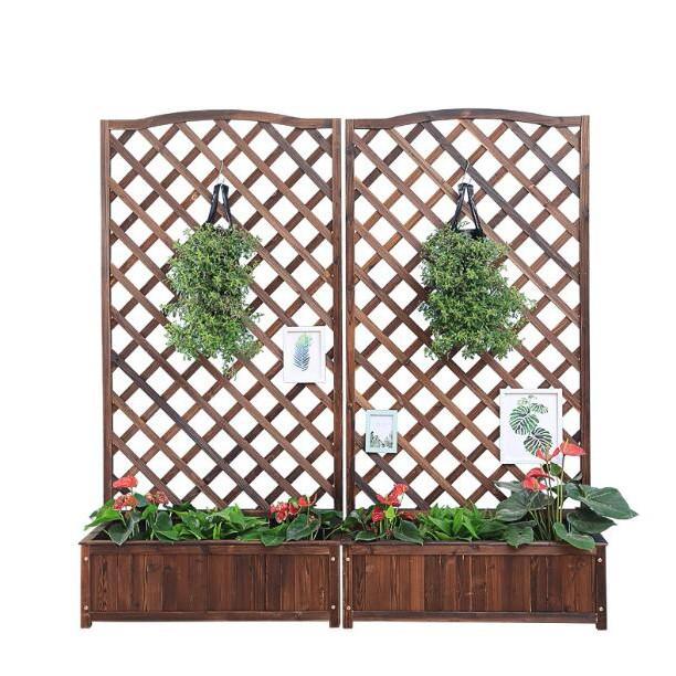 [限時特賣]木柵欄花盆架花槽爬藤架網格花架種植盆-feng
