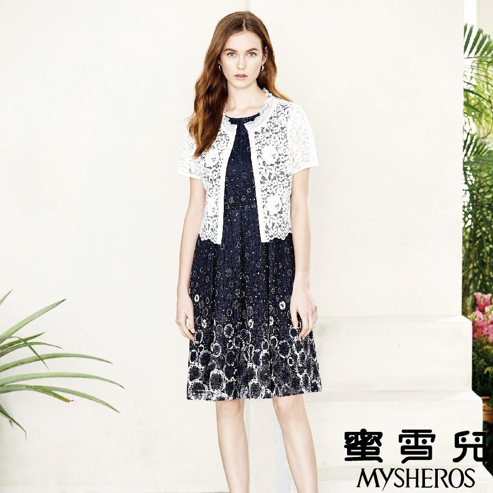 蜜雪兒MySHEROS-兩件式刺繡鏤空連身裙&罩衫-藍 0110-18157-70 (僅有尺寸 40)