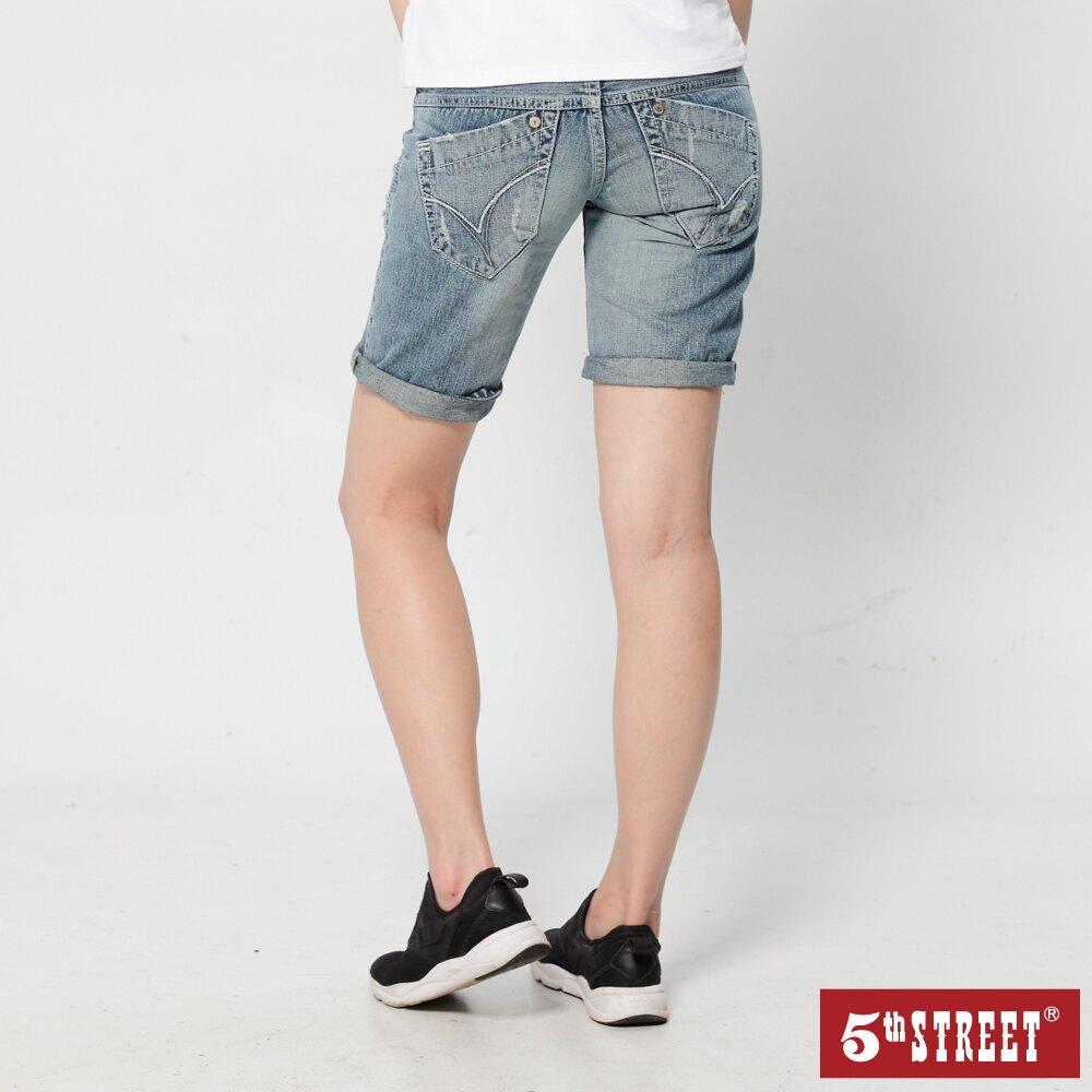【5th STREET】女破損補釘短褲-酵洗藍