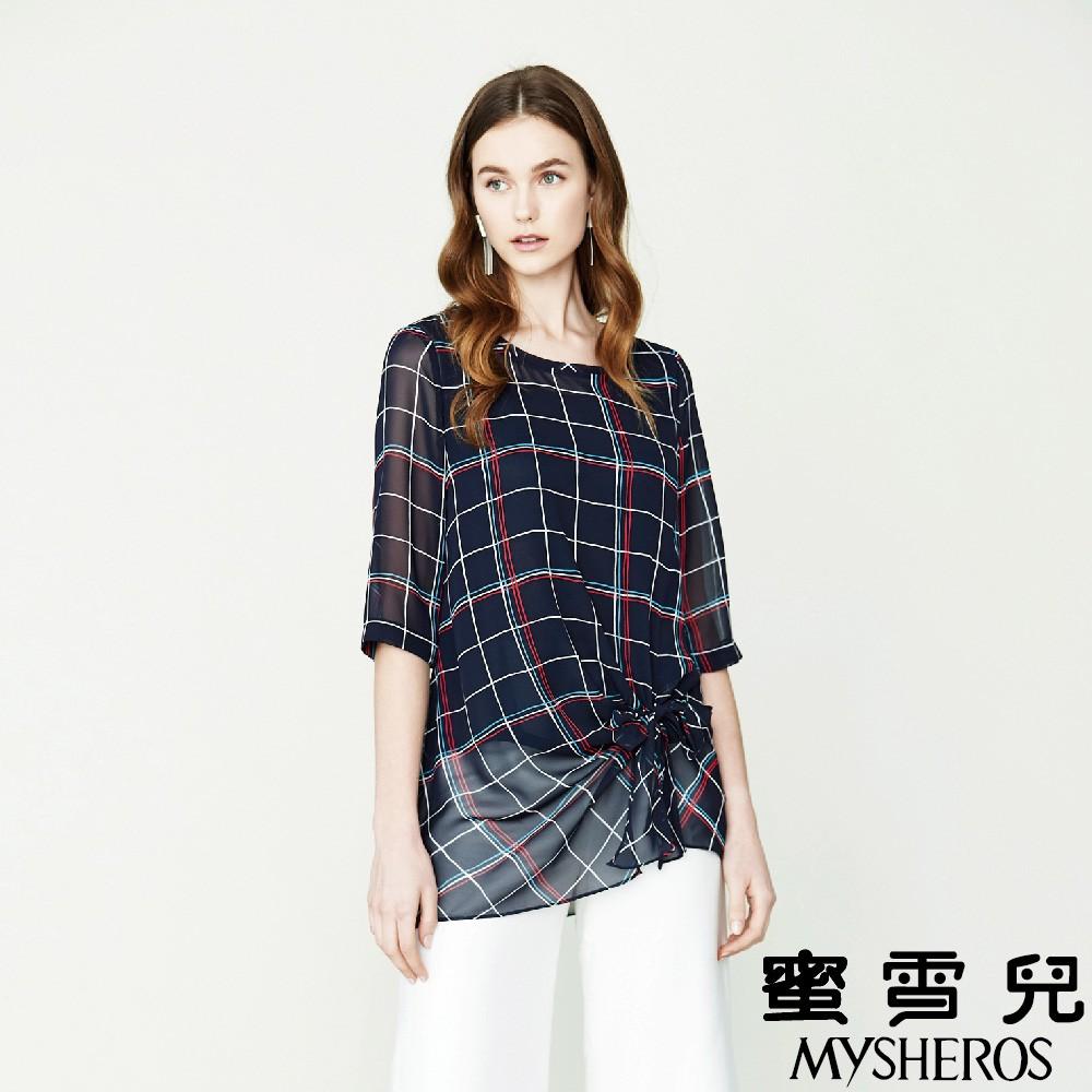 蜜雪兒MySHEROS-圓領格紋兩件式上衣-藍 0110-31654-70
