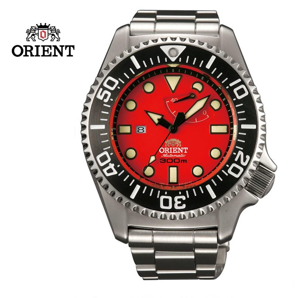 ORIENT 東方錶 Mixed-Gas Diving系列 300m 專業潛水機械錶 鋼帶款 SEL02003H 紅色 - 45.7 mm