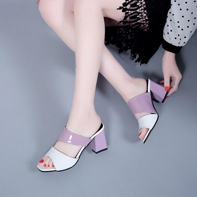 FOFU-高跟露趾包鞋拼色百搭柔軟皮質魚口高跟露趾包鞋【02S12114】
