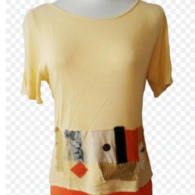 GIFT-膚橘色-義大利針織短袖女上衣