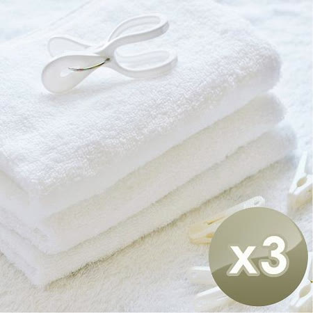HKIL-巾專家 台灣製純棉寬邊微重磅飯店毛巾 3入組