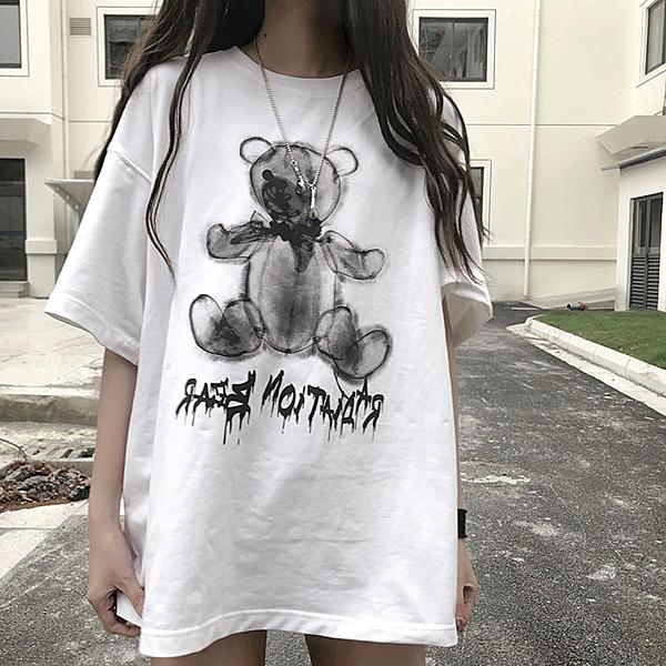 嘻哈上衣 夏2020新款嘻哈简约小熊寬鬆短袖ins網紅超火水墨印花T恤女上衣服