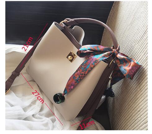 FINDSENSE X 復古 簡約 韓版大容量女包絲巾撞色托特 單肩包 斜挎 手提 包