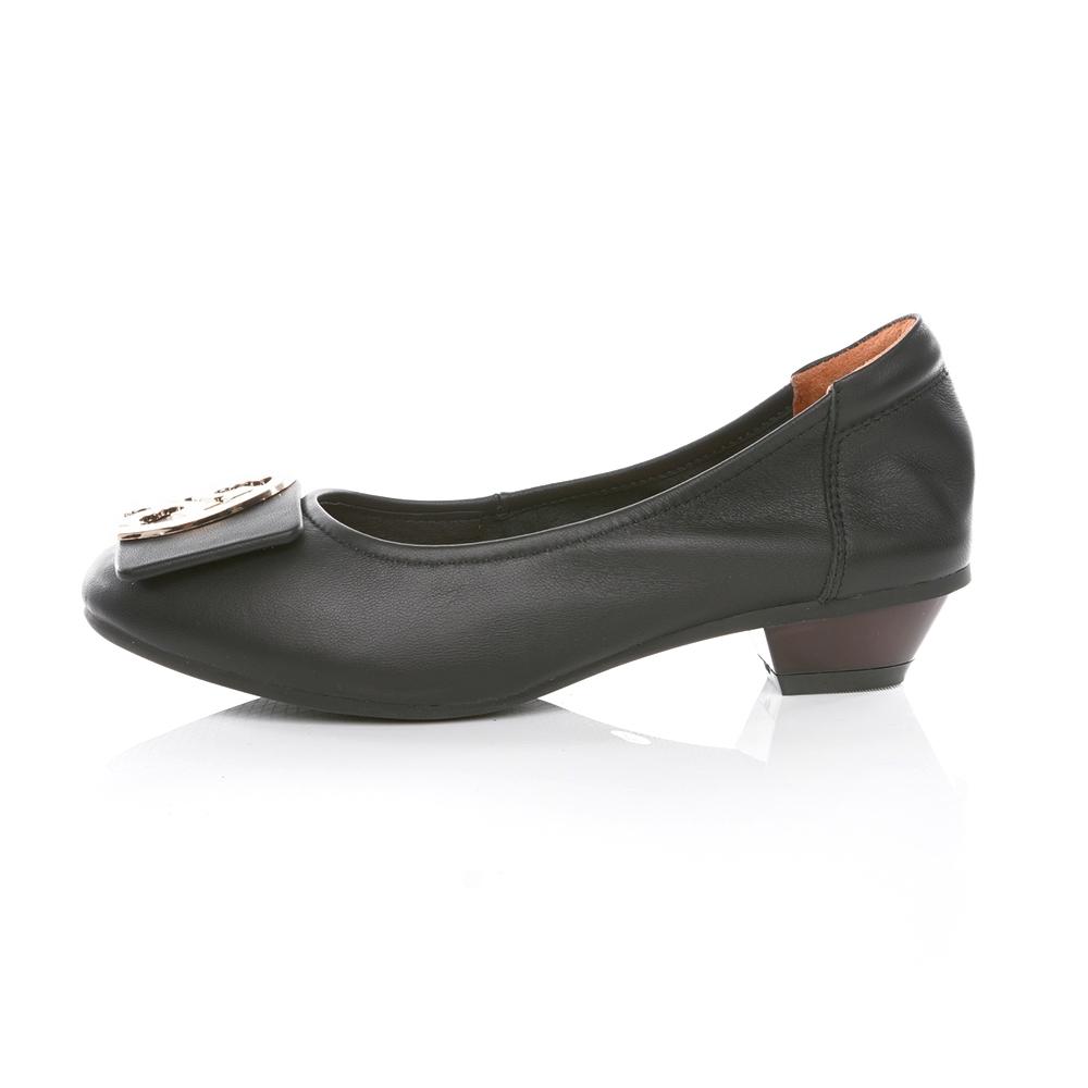 TAS 造型飾釦拼接鬆緊帶娃娃鞋 經典黑