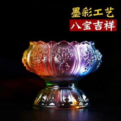 『運福閣』頂級墨彩琉璃八吉祥酥油燈燈座,蓮花座燈座,供佛、泰國佛牌、佛像用燈座、燭台