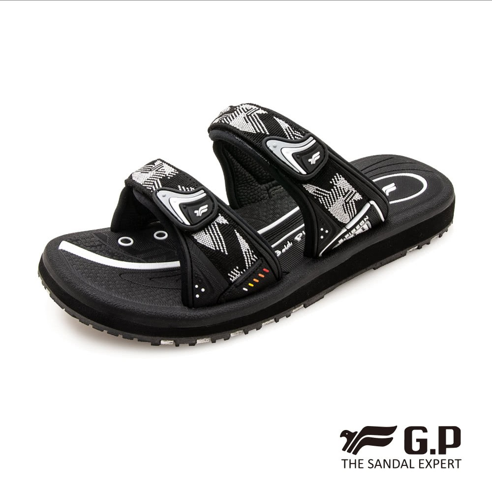 G.P (女) 簡約織帶風格雙帶拖鞋-黑灰 (另有黑桃、藍)