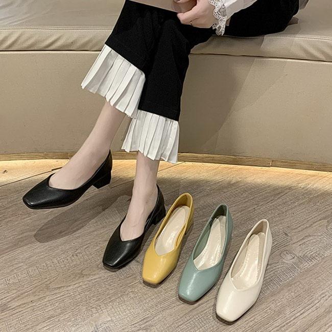 FOFU-方頭中跟鞋復古百搭通勤休閒淺口軟皮方頭中跟包鞋【02S12113】