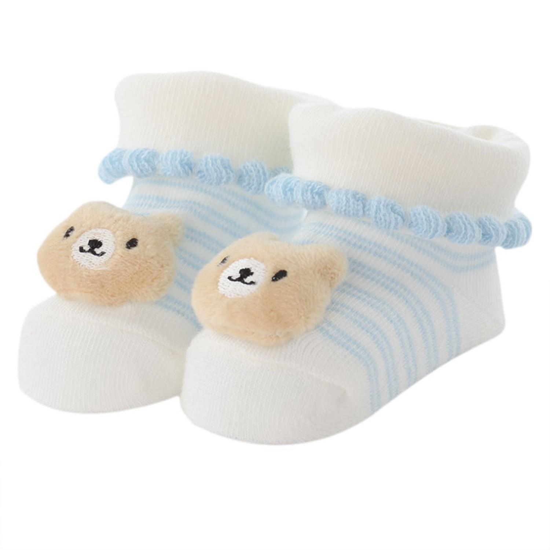akachan honpo - 造型襪-熊-淺藍色 (7~9cm)