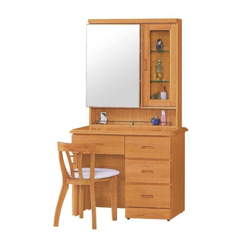 【RA492-4】正赤陽木3尺鏡台(含椅)(不拆賣)