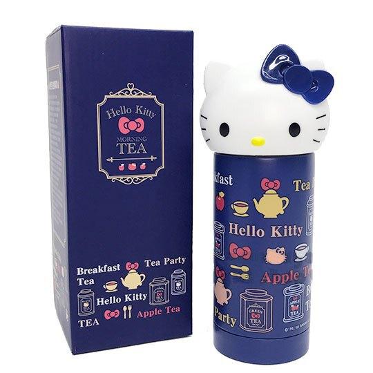熱銷推薦!!小禮堂 Hello Kitty 造型不鏽鋼水壺《深藍.大臉.230ml》Vivitix午茶系列