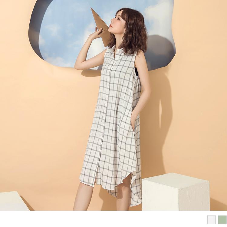 格紋涼爽前短後長排釦襯衫領長版無袖洋裝/罩衫