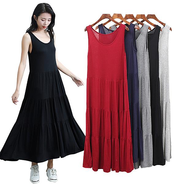 R1618無袖大蛋糕裙# 莫代爾連衣裙女夏無袖甜美大擺長裙子女裝洋裝 &小咪的店&