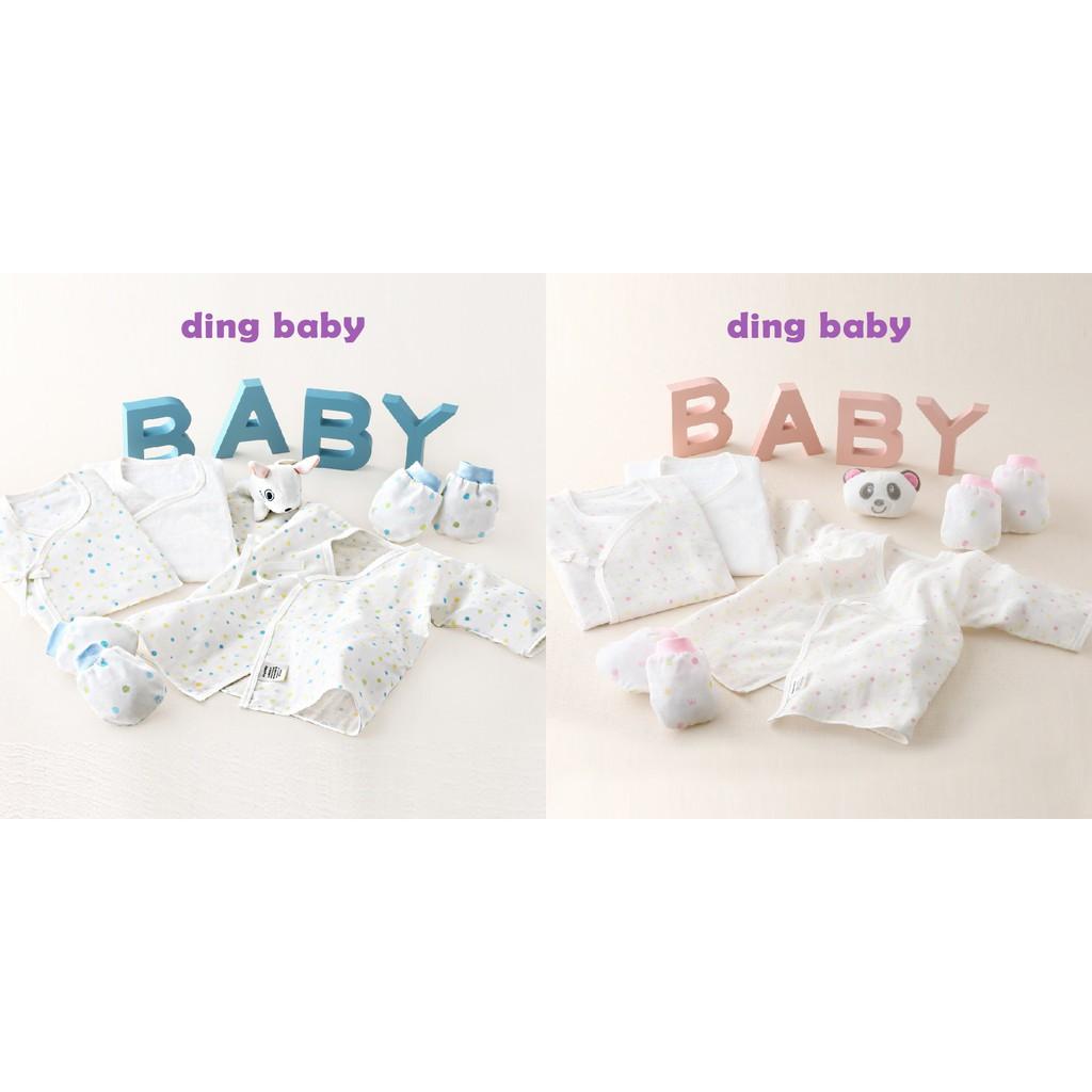 ding baby 純棉紗布肚衣手套3+2件組-藍點/粉點
