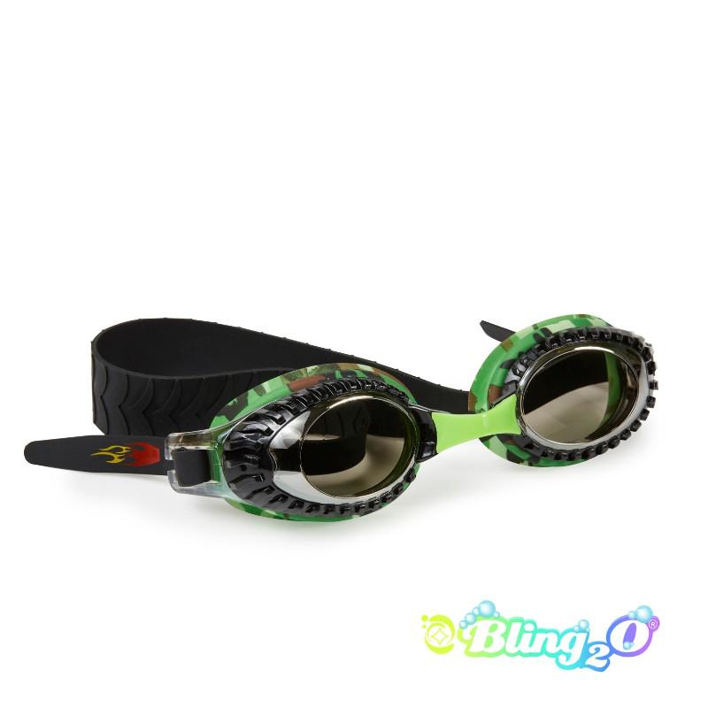 兒童泳鏡面罩 賽車嘟嘟系列-綠迷彩 ⎜Bling2o 外殼瑕疵商品