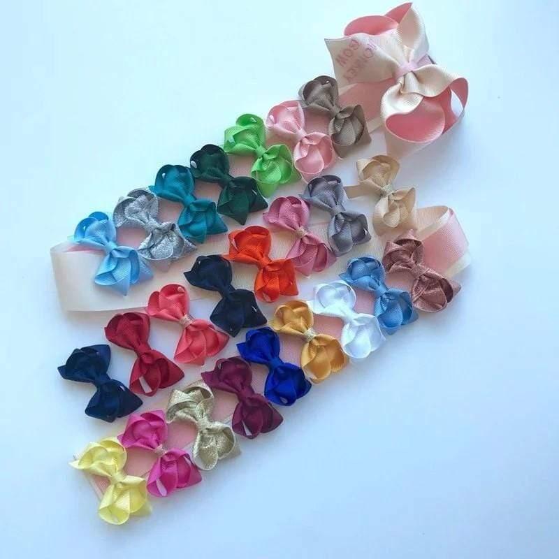 Mini Bow - 手工兒童緞帶髮飾 - 迷你對夾 氣質粉 (CBS-0051)