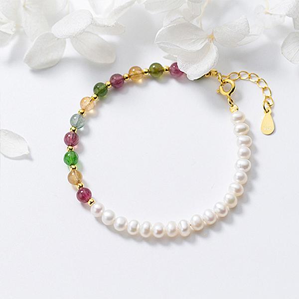 【ANGEL】仰望半月水晶S925銀珍珠串珠手鍊(彩色)