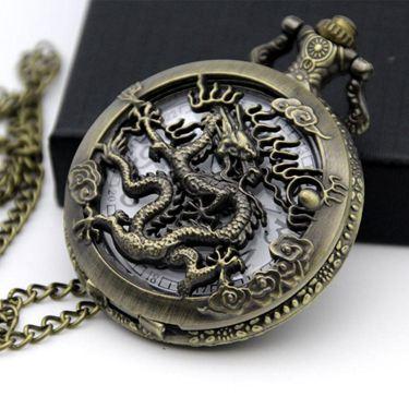 懷錶大號復古翻蓋十二生肖鏤空雕花懷錶學生舊數字式項?老人石英錶